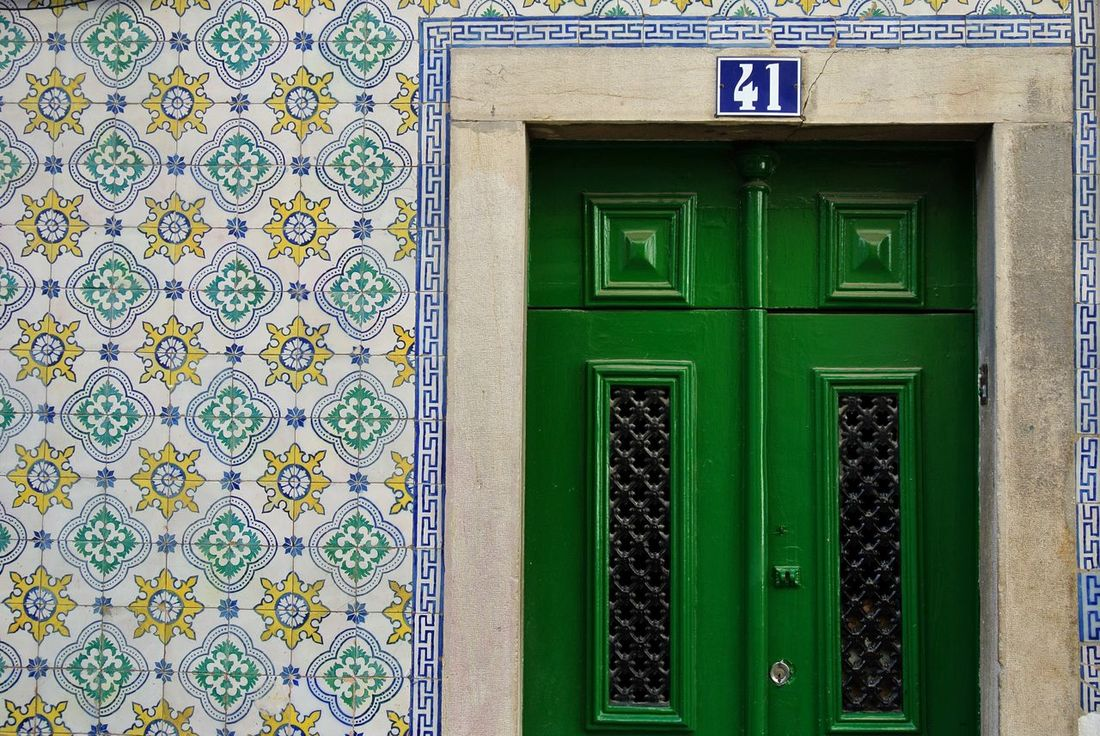 Colour Of Life Door Colors Colorful Green Wall Tiles Picturesque Architecture Building Lisbon Beautiful Place Summer Visiting Enjoying The View Nofilter Bright Colors Bright_and_bold Holiday