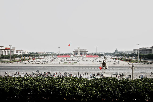 PEACE! Beijing China City Panoramic Red Color Red Flags Tienanmen Square Urban Space battle of the cities