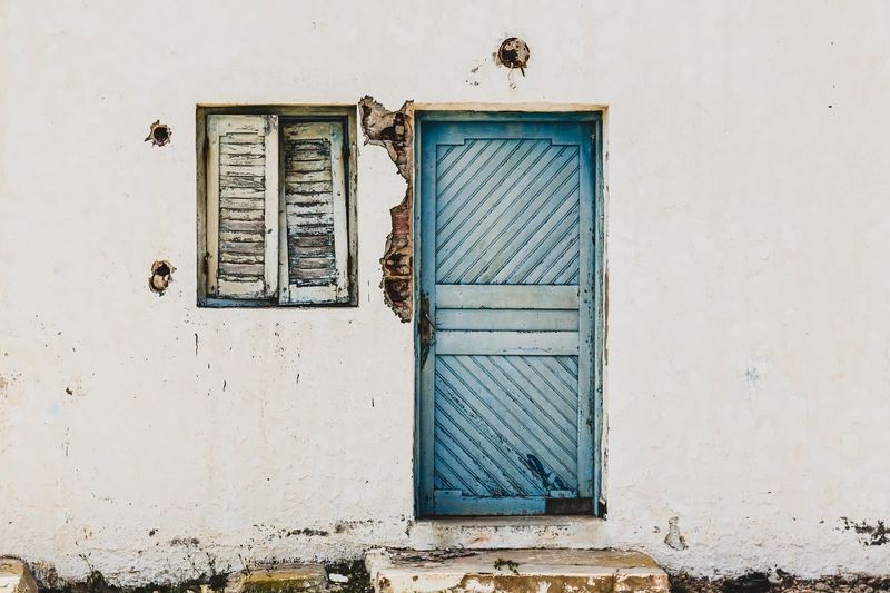 Blue Building Building Exterior Built Structure Closed Door Doors Eye4photography  Old Ruined Building Ruins Simple Photography Wall