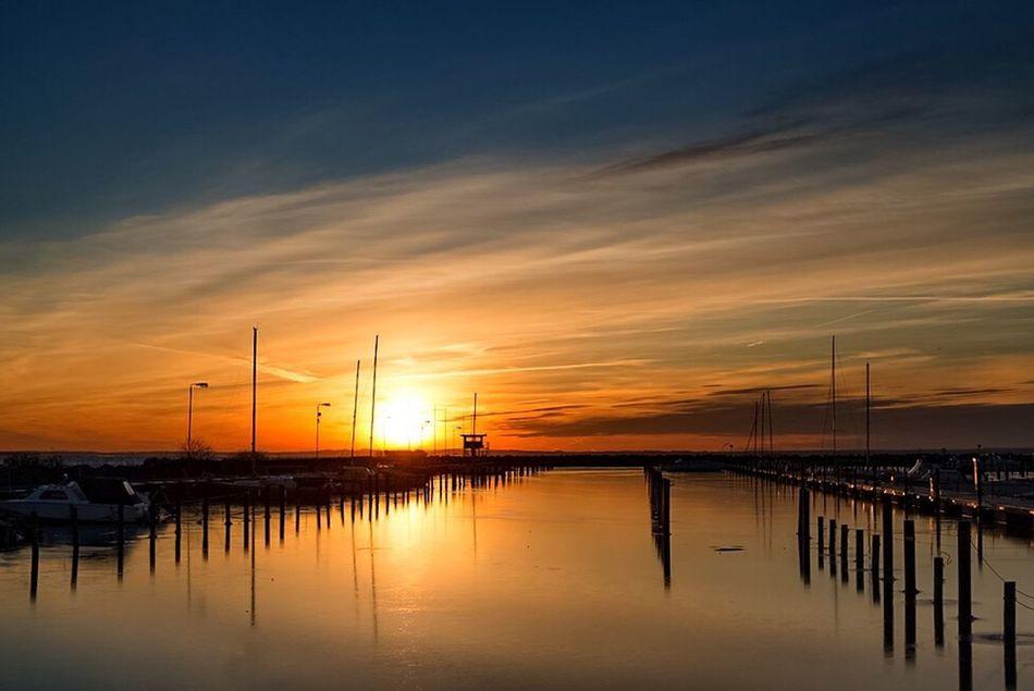 Råå Harborplace Harbour Icescape Sunset Winterscapes Boats Iceinthesun