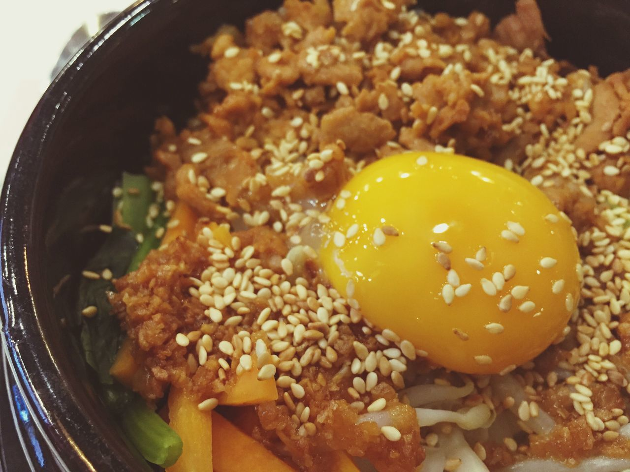 Korean rice Food And Drink Food Close-up Freshness Bowl Ready-to-eat Healthy Eating Egg Pork Sauce Korean Rice Pork Lunch Close Up Restaurant