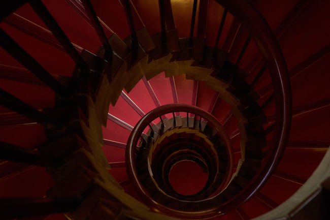 Architecture Architecture Architecture_collection Bannister Built Structure Circle Coil Concentric Directly Below EyeEm Best Shots High Angle View Indoors  No People Railing Red Carpet Repetition Spiral Spiral Staircase Spiral Staircase Staircase Stairs Steps Steps And Staircases Tokyo Bunka Kaika