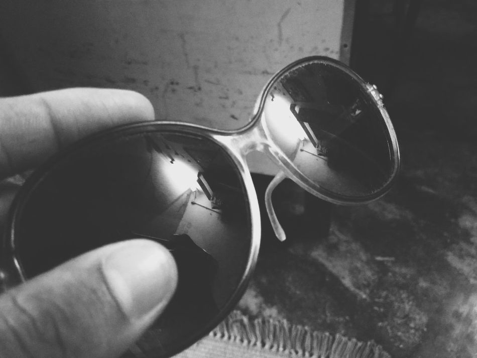 Old Memory! Black And White Close-up Cropped Day Everyday Emotion Focus On Foreground Holding Human Finger Leisure Activity Lifestyles Memory Old-fashioned Part Of Person Personal Perspective Sunglasses Unrecognizable Person Incidental Art VSCO 43 Golden Moments