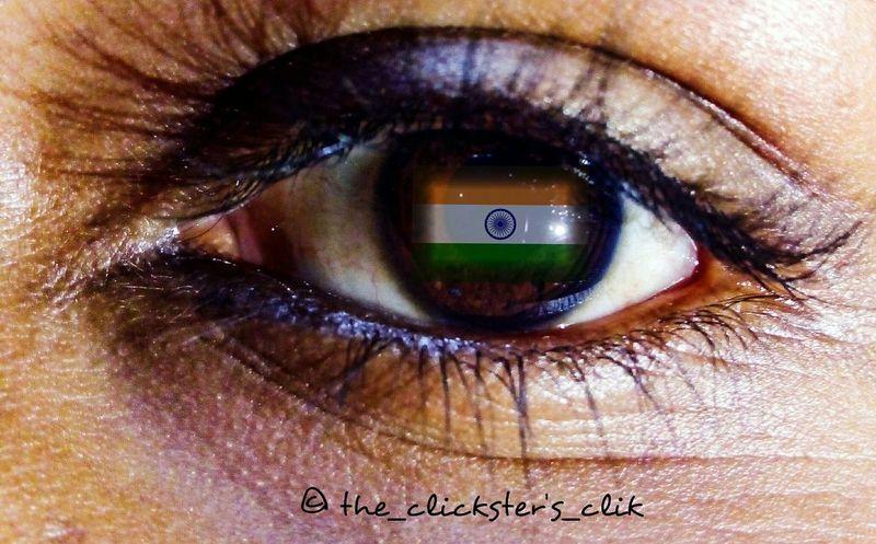 Indian Culture  Flags In The Wind  Republic Day 26 January Human Eye Eyelash One Person Iris - Eye Reflection Eyeball First Eyeem Photo