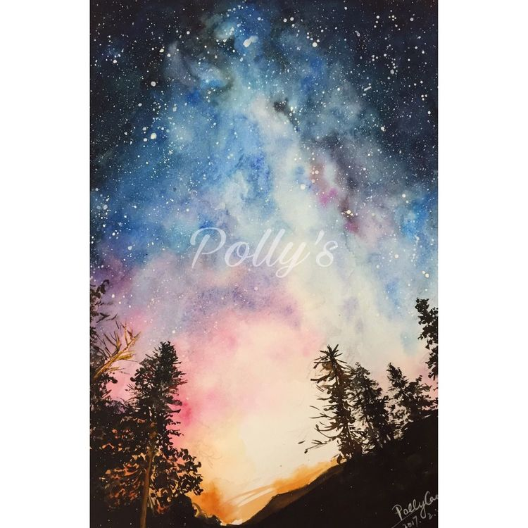 Starry Night Star - Space Sky Beauty In Nature Galaxy Milky Way No People Drawing - Art Product Watercolor Painting Drawing Drawing ✏ WaterColorCollection Watercolor Effect Watercolorpainting Starry Sky Starrynight