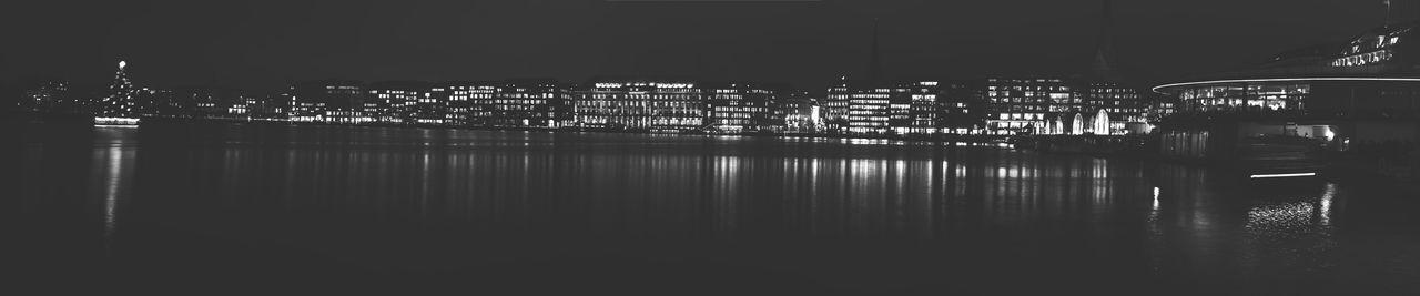 Binnen-Alster-Nightscape. Alster Black Blackandwhite City City Life Cityscape Germany Hamburg Landscape Long Exposure Night Night Lights Nightphotography Streetphotography Urban Urban Landscape White