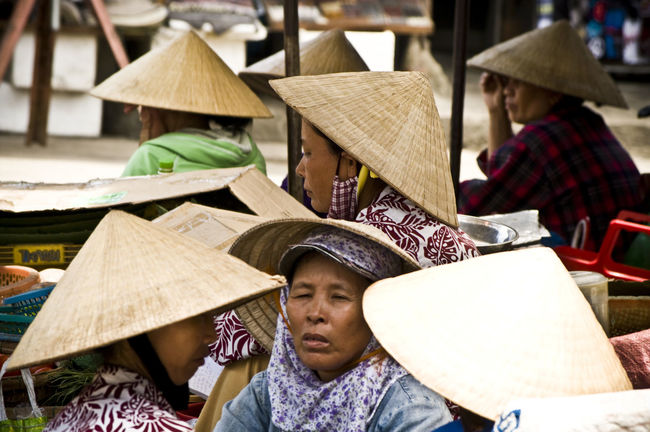 ASIA Casual Clothing Check This Out Chinese Hat Close-up Day Focus On Foreground Hanging Out Here Belongs To Me Hoi An Lifestyles Non La Relaxation Sitting Traditional Traditional Costume Traduction Traveling Vietnam Waist Up