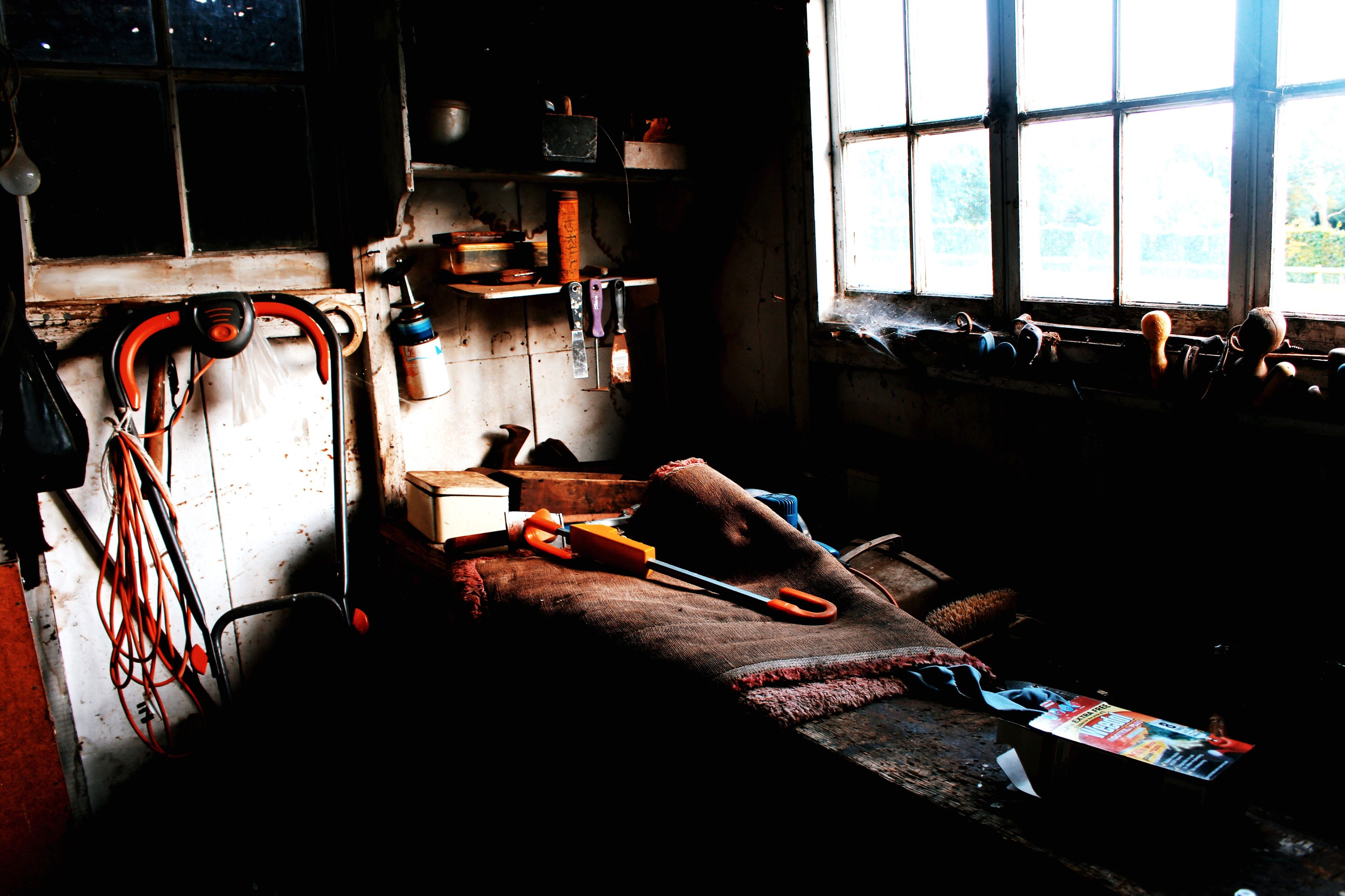 indoors, window, sofa, messy, home interior, obsolete, domestic life, dirty, group of objects, interior, day, place of work