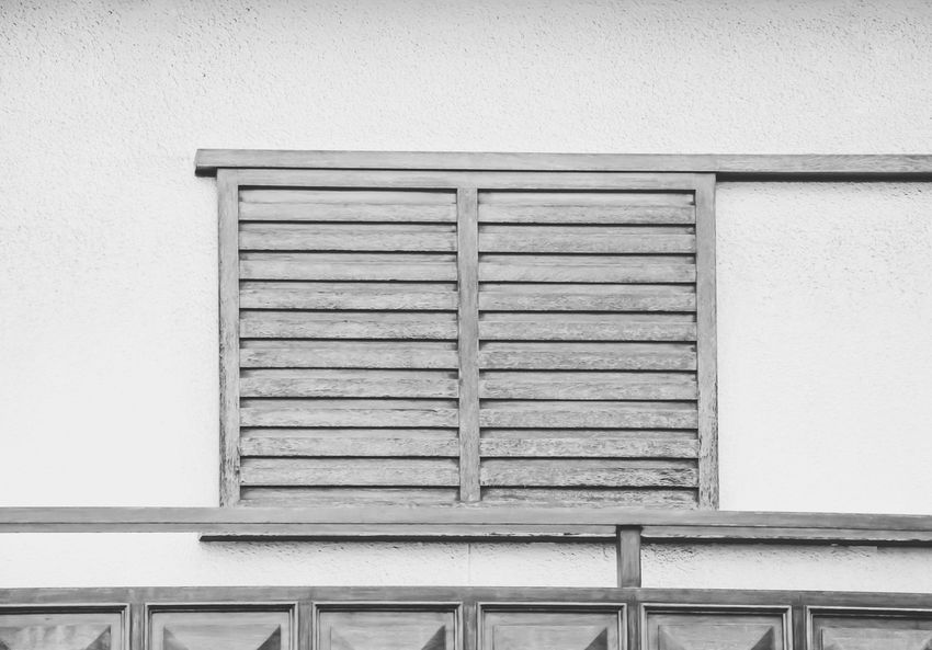 Wooden Façade Details Architecture Built Structure Building Exterior Window Closed No People Safety Shutter Day Low Angle View Outdoors Close-up Wooden Façade Facade Detail Wooden Shutters Black And White