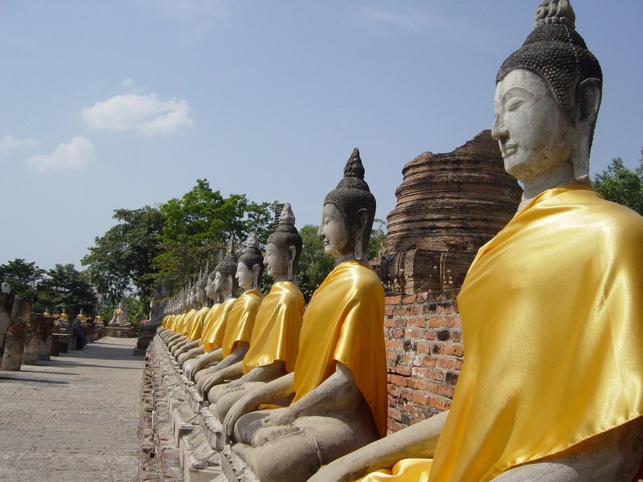 thailand Religion Statue Human Representation In A Row Tree Spirituality Cross-legged Travel Destinations Cultures Place Of Worship Sitting Gold Gold Colored No People Sculpture Outdoors Sky Day
