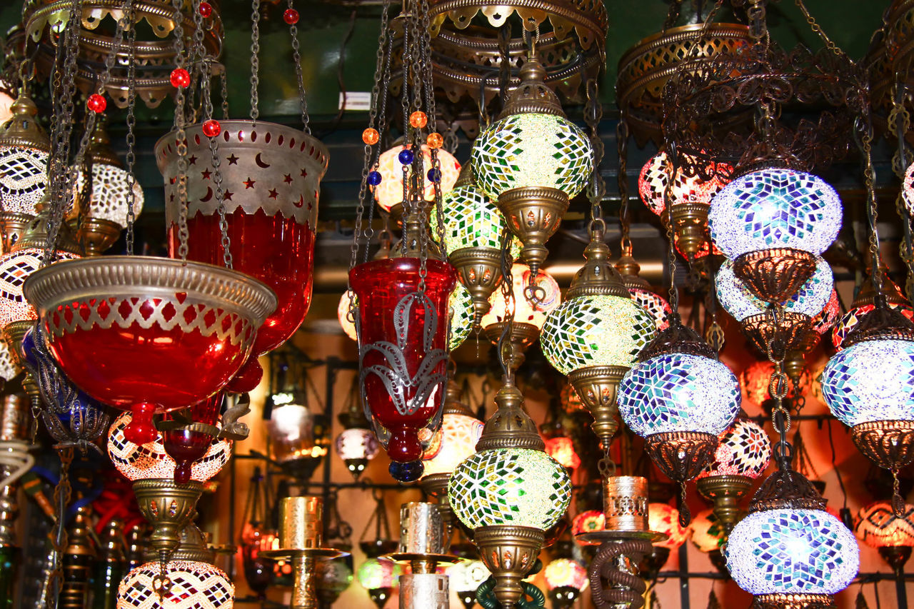 Bazaar Abundance Art, Asia, Asian, Background, Beautiful, Black, Blossom, Bright, Bulb, Cherry, China, Chinese, Classic, Concept, Creative, Design, Electric, Electrical, Electricity, Energy, Equipment, Floral, Flower, Glass, Graphic, Hanging, Happiness, Happy, Holiday, Ho Backgrounds Carousel Colorful, Color, Design, Cultures Decor Decoration Grand Bazaar Illuminated Istanbul, Turkey Large Group Of Objects Light Lighting Equipment Lights Multi Colored Night No People Ornate Retail  Shop Variation
