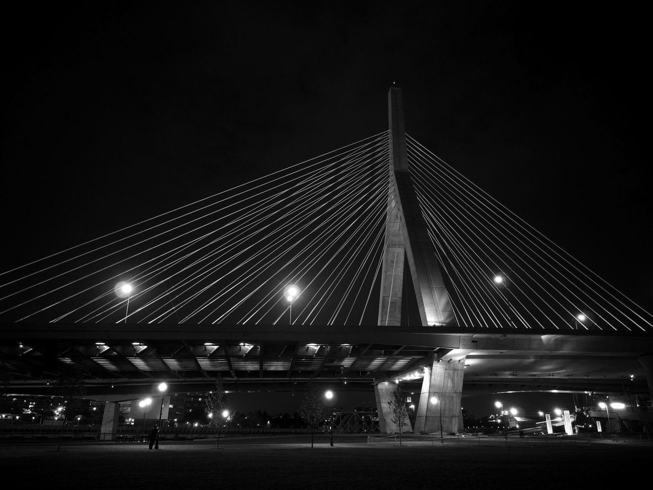 Leonard Zakim Bridge at Night in Blackandwhite