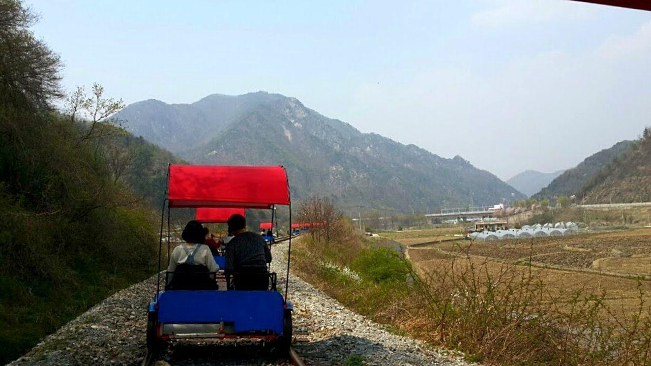 "The real way to ""Kor-rail"". Korea South Korea Railroad Railcar Spring Travel Travel Photography Mountain Nature Countryside"