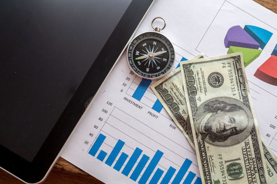 Finance and business conceptual background Clock Company Directly Above Dog Finance Money No No People