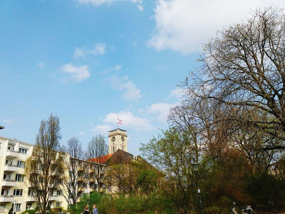 tower of Rathaus Schöneberg seen from a park Sky Tree Cloud - Sky Architecture Outdoors Rathaus Schöneberg Rathausturm