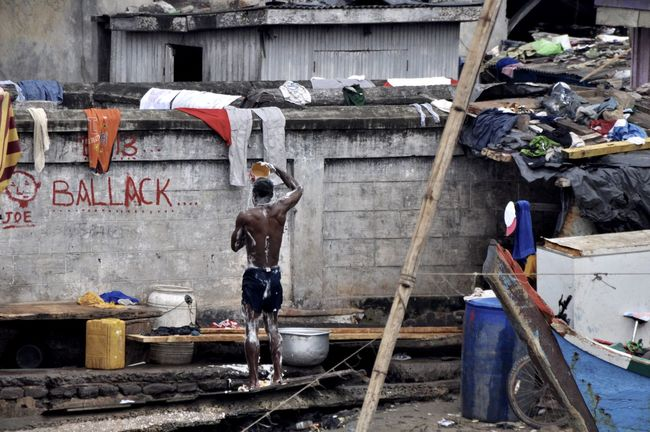 Bucket Shower Africa Bucket Elmina Garbage Ghana Laundry Man Messy Outdoors Poor  Poverty Poverty Lives. Shower Taking A Shower Wall Water Football Fans Soccer Ballack