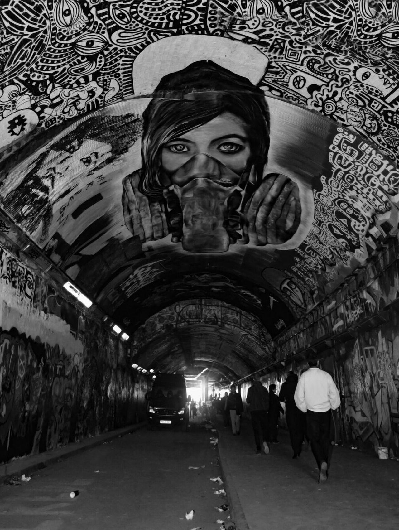 Tunnel Vision #2 ⁞ Real People Built Structure Architecture Streetphotography Street Photography Streetphoto_bw Streetart Graffiti Art Graffiti EyeEm Best Shots EyeEmBestPics Urbanphotography EyeEm Best Shots - Black + White Blackandwhite Photography Black&white London The Street Photographer - 2017 EyeEm Awards The Architect - 2017 EyeEm Awards Art Is Everywhere Eyem Gallery Eye4photography  The Purist (no Edit, No Filter) Cityscape From My Point Of View Eyeem Collection