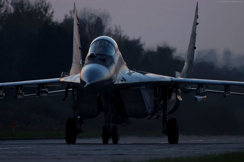 Aerospace Industry Afternoon Air Base Air Force Air Force Air Vehicle Aircraft Airplane Aviation Dark Day Fighter Fighter Plane Low Light Mig-29 Mikoyan I Gurevich Mikoyan Mig-29 Military Night No People Outdoors Runway Weapon