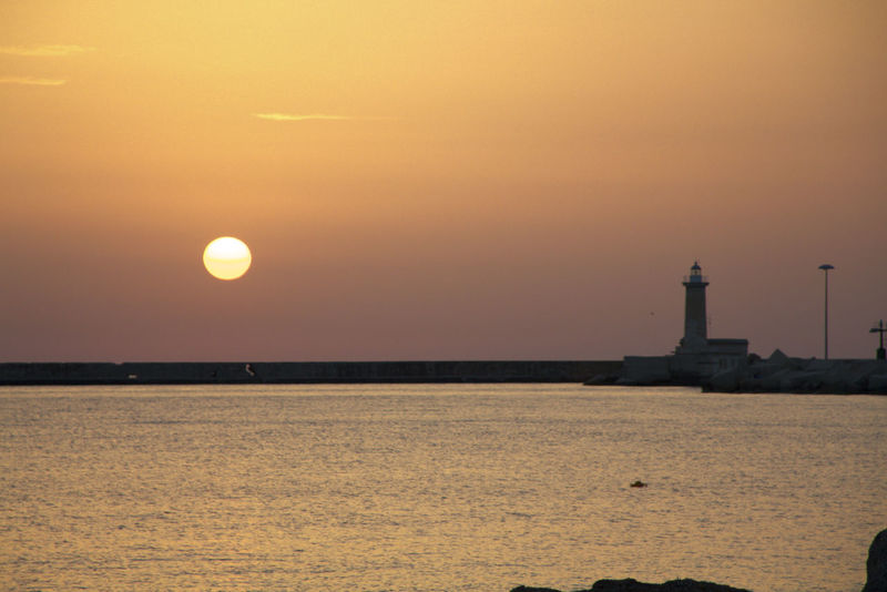 Lighthouse Sicily Beauty In Nature No People Sea Sea And Sky Siciliabedda Sky Sunset Tranquility Trinacria