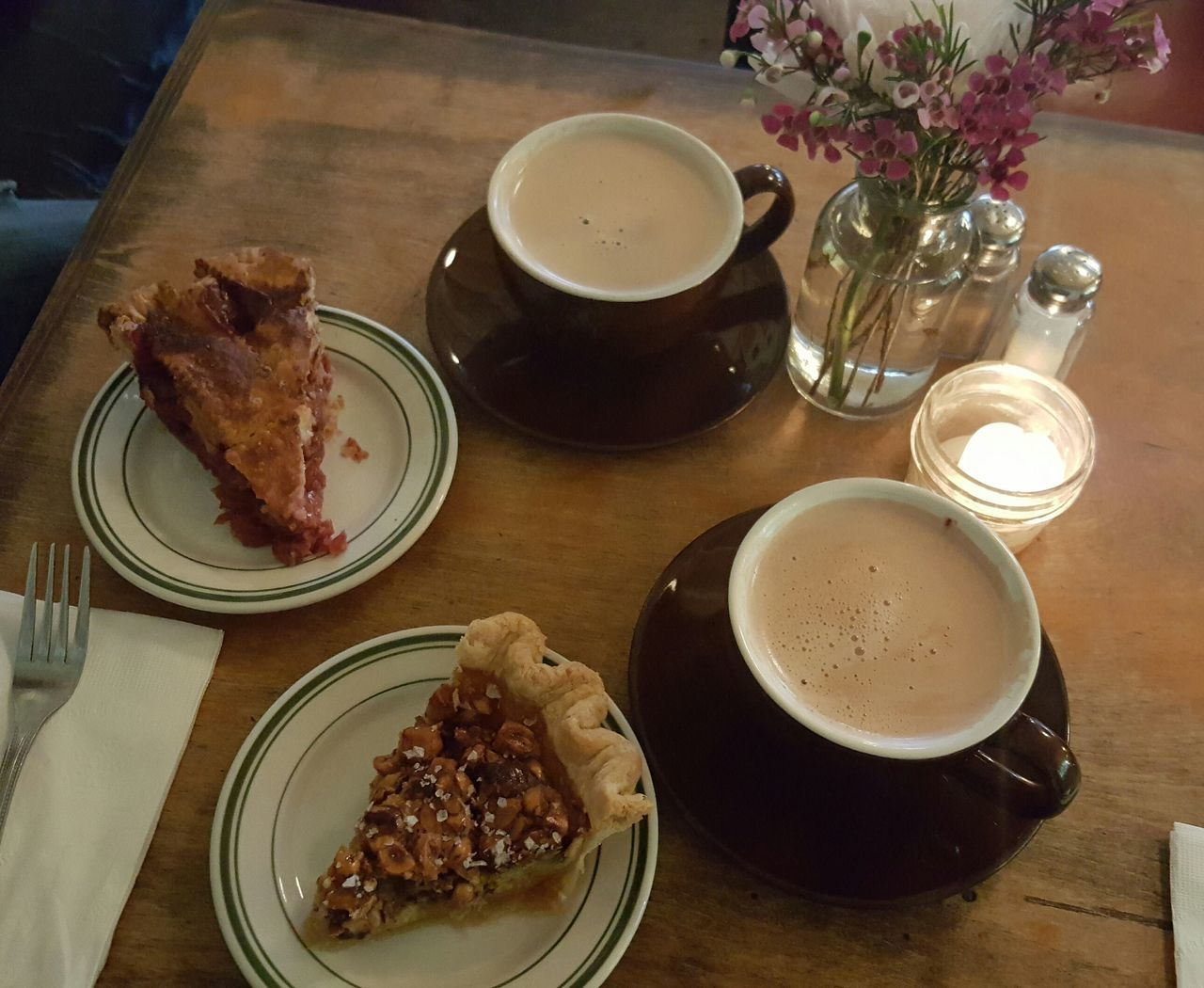 Went out for Pie and Chai last night after dinner. Tart cherry and honey hazelnut pies, yummmm! Food And Drink Dessert High Angle View Tea - Hot Drink Sweet Pie Comfort Food Visual Feast
