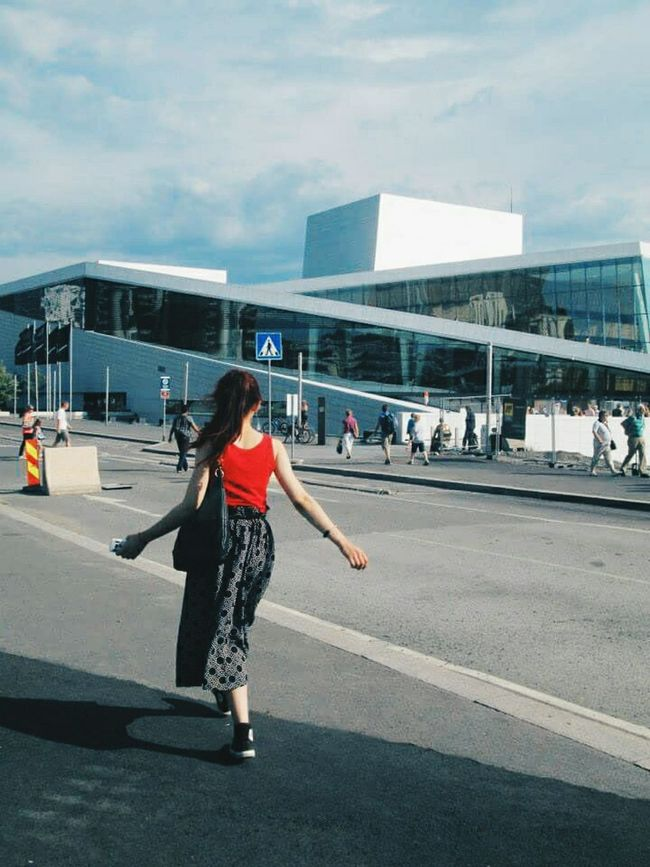 Woman Onthego Womanity  Woman Power Walking Around The City  Peopleshots People Photography Street Photography OsloOperaHouse Vscocam VSCO