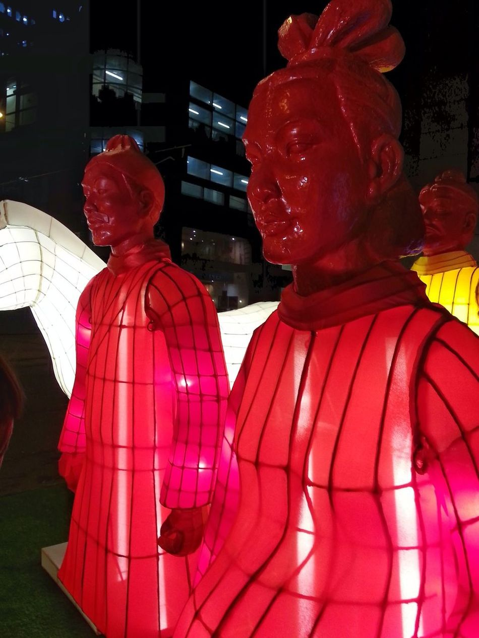 Gung Hay Fat Choy Chinese New Year Terracotta Warriors Luminosity Red Color Celebration Year Of A Rooster Adapted To The City