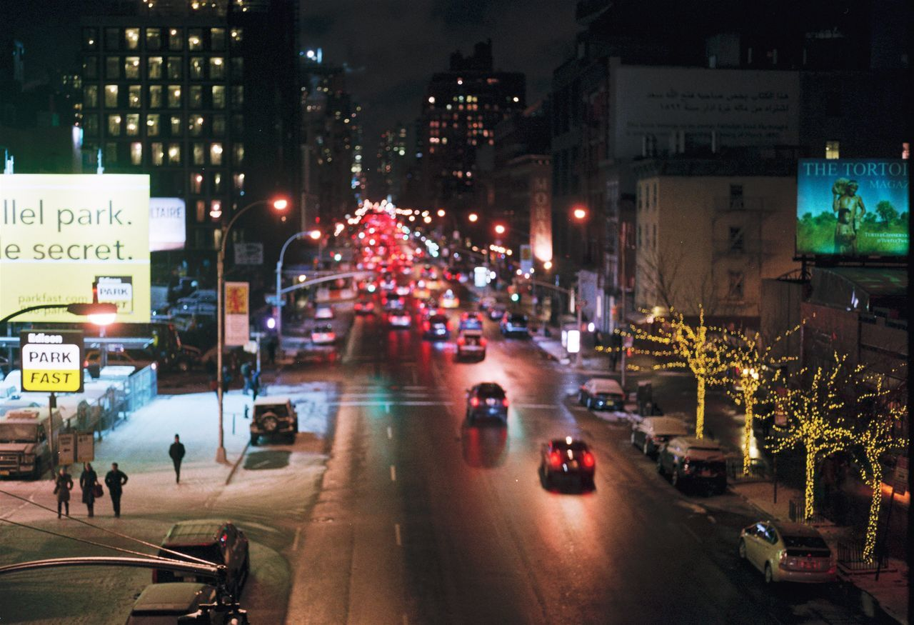 2015/01 — NYC, High Line Park Analogue Photography City Lights City Street Cityscape Color Film Film Photography High Line Park Manhattan New York Night Night Lights Nightphotography No People NYC NYC Photography Park Streets