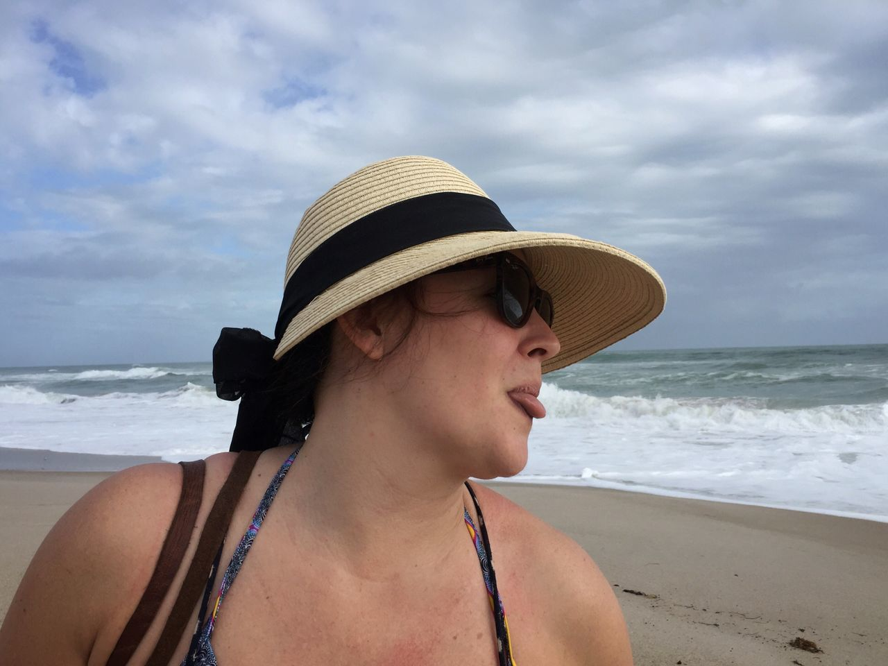 So there! Headshot Hat Beach Sea Beautiful Woman One Person Sun Hat Vacations Real People Young Adult Young Women Melbourne Beach, FL Sticking Out Tongue Lifestyles Sassy