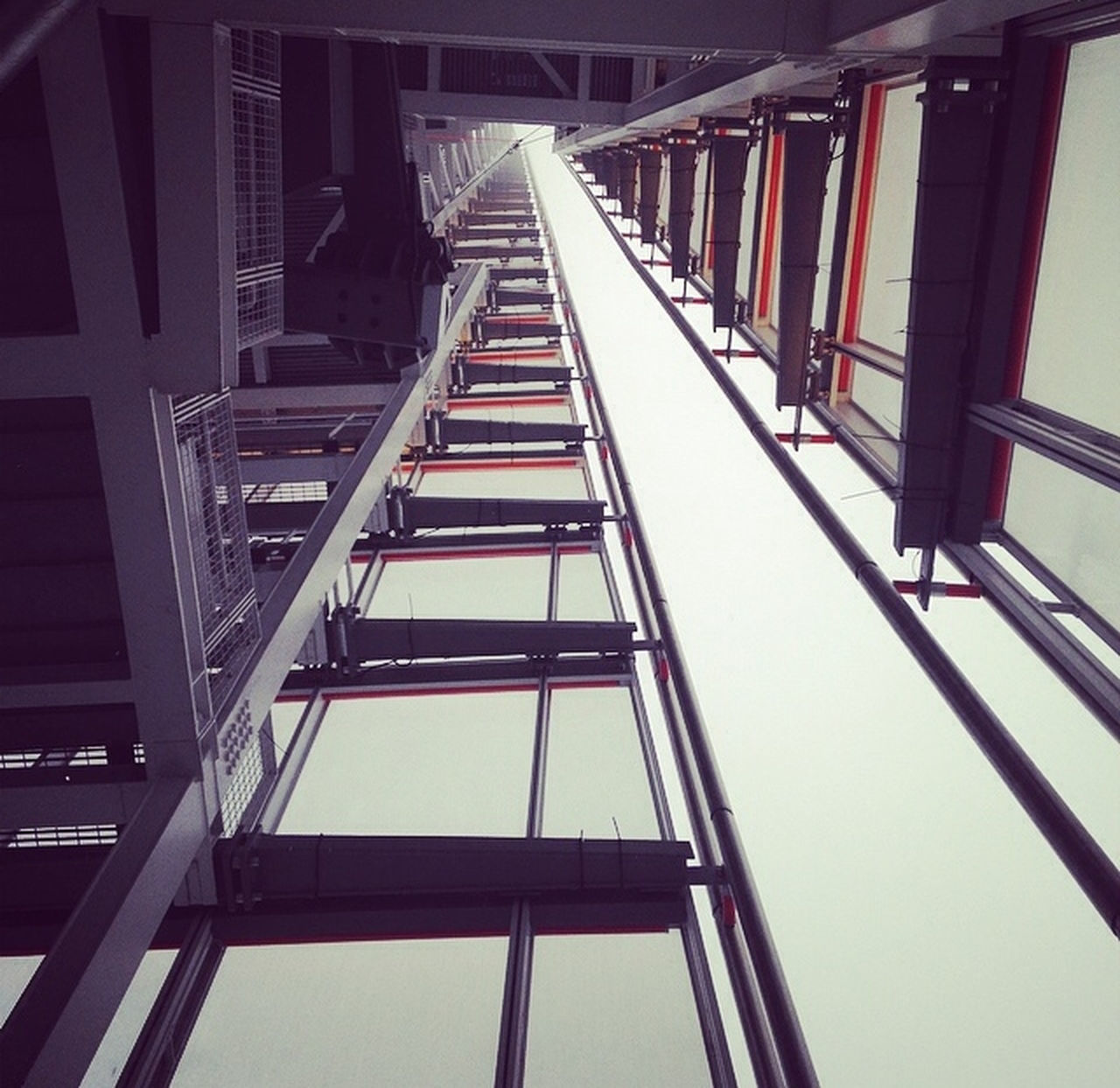 architecture, built structure, railing, connection, low angle view, no people, fire escape, day, outdoors