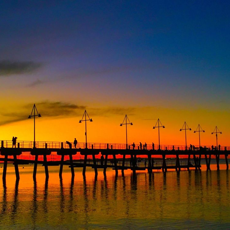 Australia Western Australia Perth Rockingham Rockingham Foreshore Australian Landscape Jetty Jetty, Pier Pier Ocean Beach Sunset Sunset Silhouettes Sky Water Reflection Shadow Shadow And Light