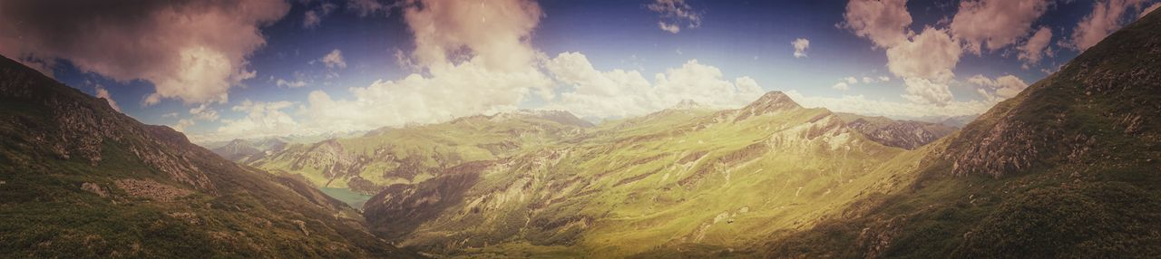 Panorama Alps Beauty In Nature Cloud - Sky Day Landscape Mountain Mountain Range Nature No People Outdoors Panoramic Scenics Sky Wilderness Area