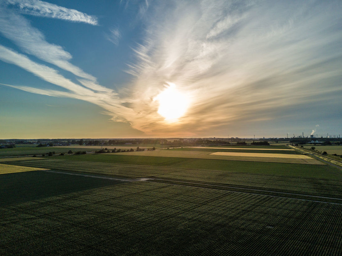 Landscape of Zeeland. Agriculture Agriculture Beauty In Nature Cloud - Sky Copy Space Day Drone  Europe Field Flat Land Holland Horizon Landscape Nature Netherlands No People Outdoors Rural Scene Scenics Sky Sunset Tranquil Scene Tranquility Zeeland