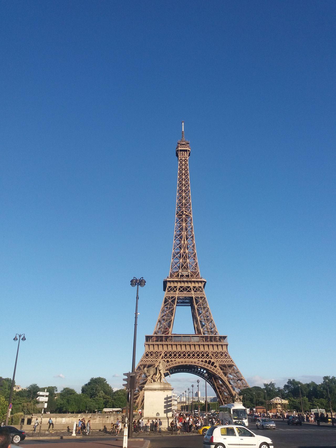 Eiffel tower Paris,France Architecture Blue Clear Sky Eiffel Eiffel Tower France No People Outdoors Paris Photo Photography Photooftheday Toureiffel Tourism Tower Travel Destinations