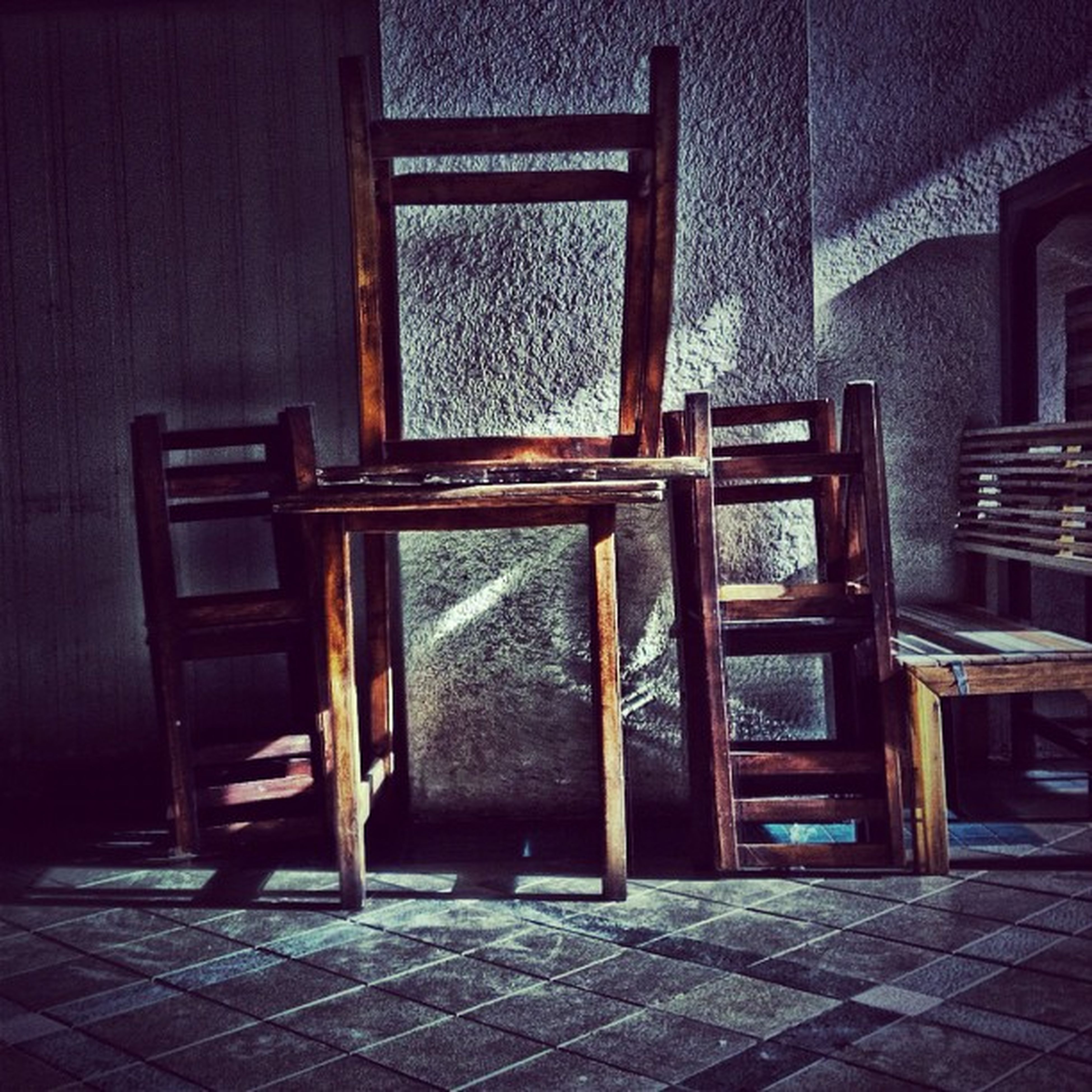 chair, built structure, architecture, house, indoors, wood - material, door, building exterior, absence, window, empty, furniture, table, old, day, closed, wall - building feature, home interior, entrance, no people