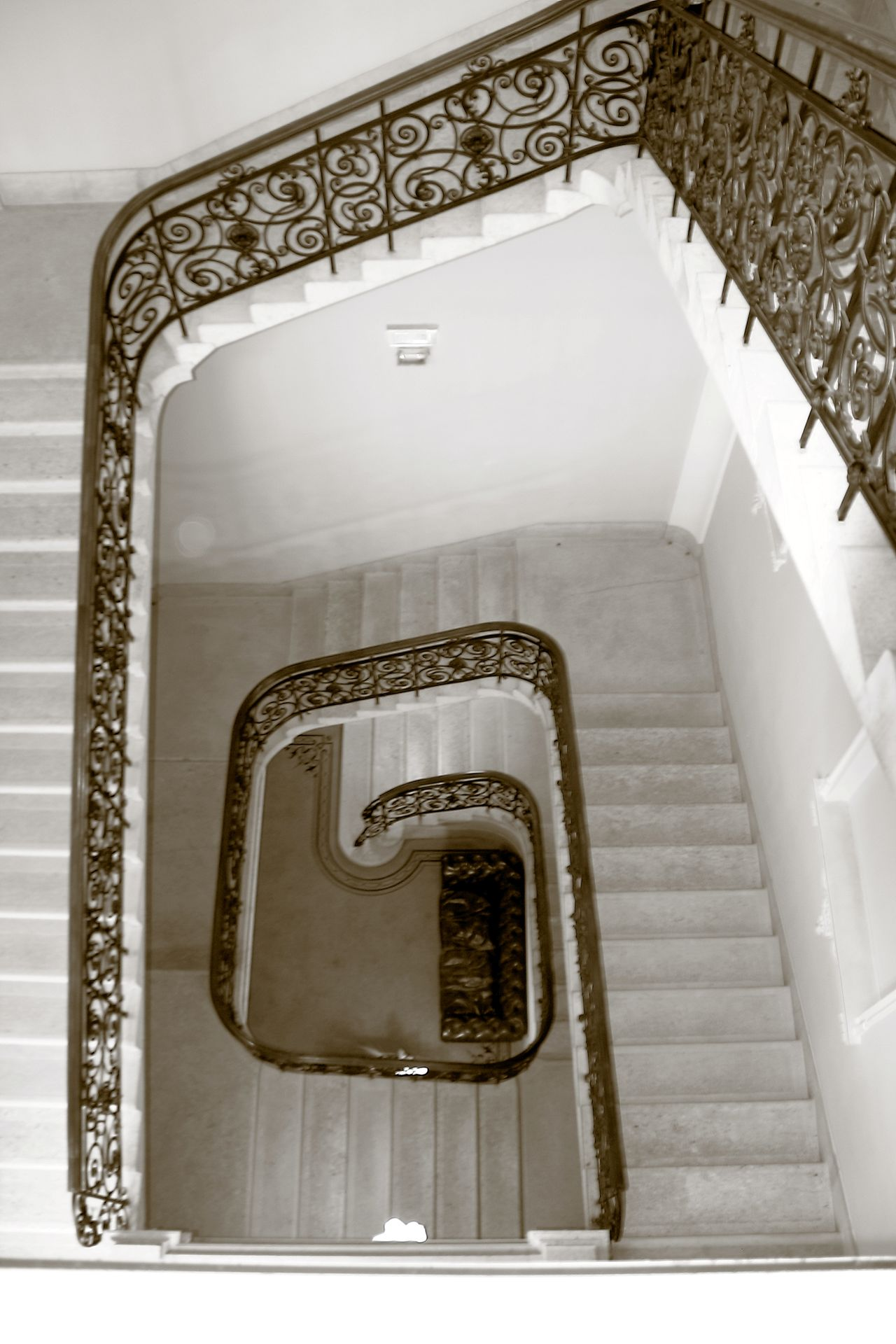 Hotel back stairwell Architecture Architecture B&w B&w Photography Bannister Budapest Budapest, Hungary Built Structure Design Full Frame High Angle View Indoors  Marble Marble Floors Marble Staircase Marble Stairs No People Railing Sepia Sepia Photography Spiral Spiral Staircase Staircase Steps Steps And Staircases