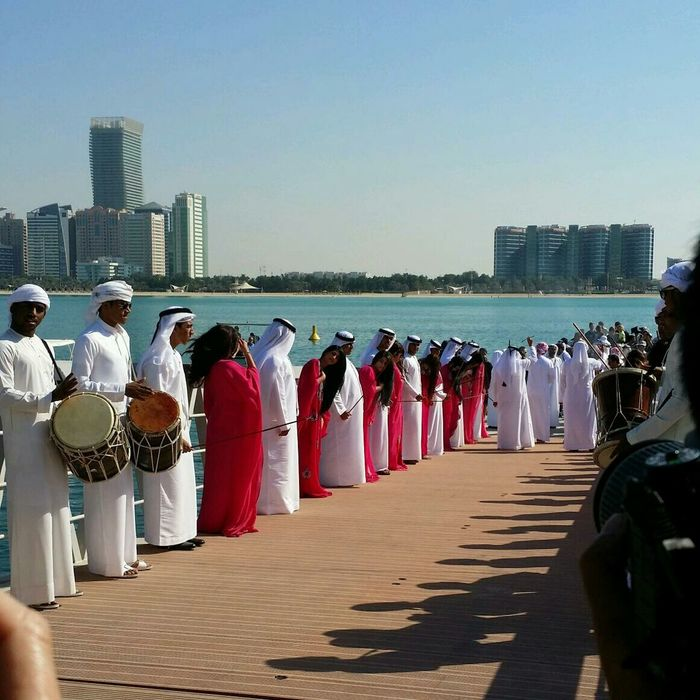 Uae,abudhabi Tradional Dancers welcoming the winner team of Volvo Ocean Race at Abudhabi yacht club