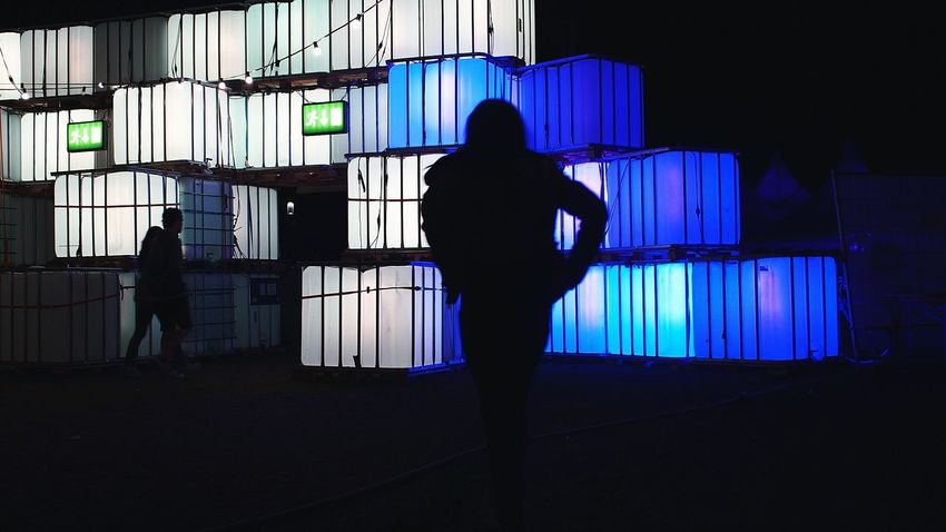 Silhouette Outdoors Rear View Outline Dark Full Length Geometric Shape Togetherness Time To Go Home Leaving Exit And Entrance Outside Illuminated Light Cube Electric Light Cubes & Light Unrecognizable People Jardin Du Plaisir NightSnaps Night Blue White Part Of Zürifäscht 2016 Impressions |7|