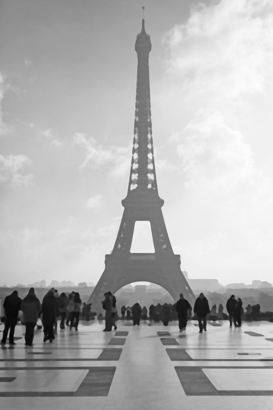 View of Eiffel Tower from Trocadero Architecture Black And White Capital City Day Eiffel Eiffel Tower France Large Group Of People Original Outdoors Painting Style Paris Picture Sky Stylized Tourist Tower Travel Destinations Trocadero Unique View
