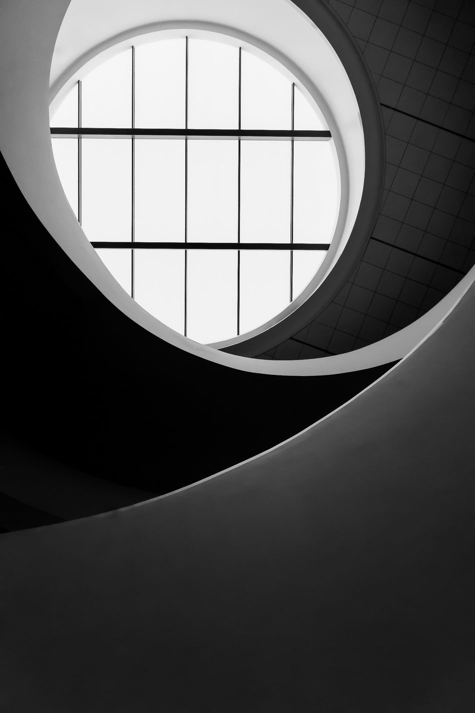 Architecture Black & White Blackandwhite Blackandwhite Photography Built Structure Circle Close-up Day Indoors  Low Angle View Minimal Minimalism Minimalism Photography Minimalism_bw Minimalist Minimalist Architecture Minimalist Photography  Minimalistic Modern No People Semi-circle Spiral Staircase Staircase Steps And Staircases Window Art Is Everywhere
