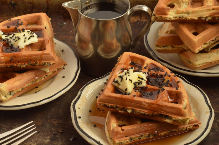 black sesame seed and ginger waffles Breakfast Food Morning Rituals No People Ready To Eat Still Life Sweet Food Syrup Waffle Visual Feast