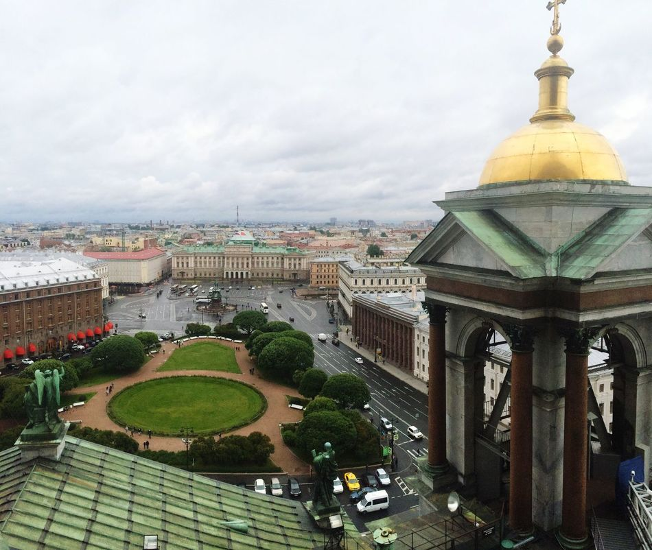 Overview of the universe Architecture Building Exterior City View View From Above Sky No People Cityscape Statue Buildings Cathedral Square Tree Bird Watching Saint Petersburg Roof Housetop