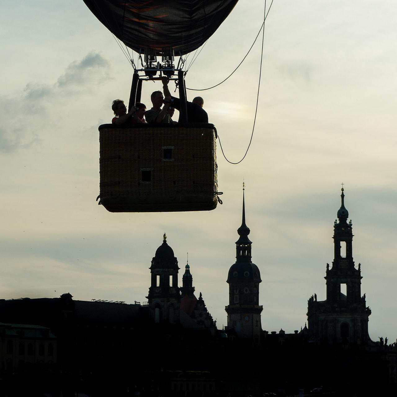 ready for take-off / Architecture Built Structure Church Cityscapes Clouds Dresden - Barock Statt Beton EyeEm Best Shots Fly Flying Flying High Hot Air Balloon Hot Air Balloons Just Getting Started Low Angle View No People Outdoors Photography Shootermag Silhouette Sky Slow Tower Trip Beautifully Organized My Year My View