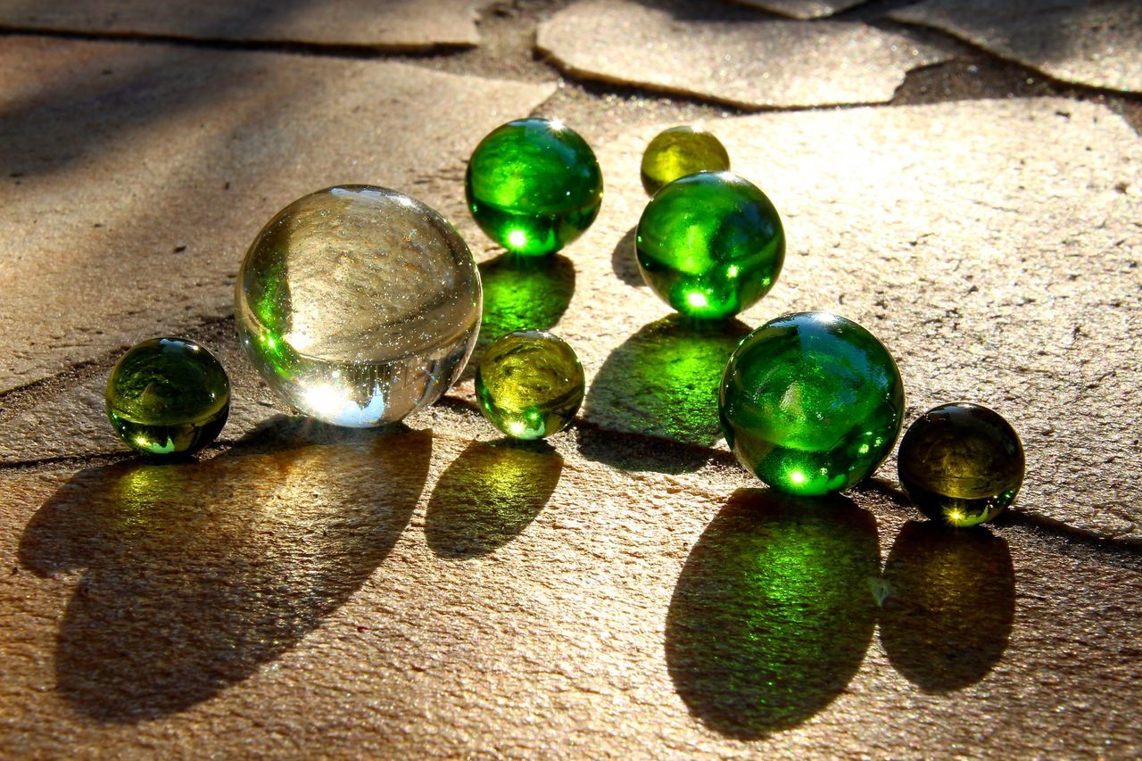 Beautiful stock photos of glass, Crystal Ball, Day, Green Color, High Angle View