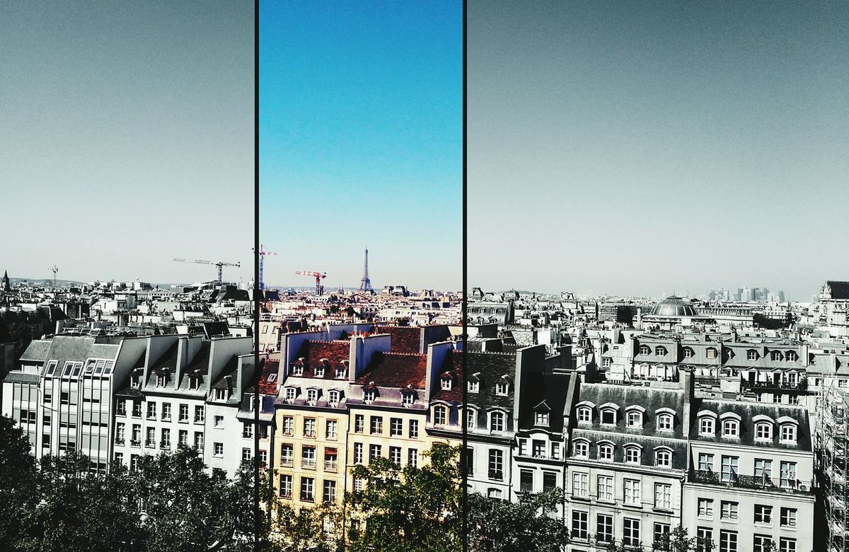 Colors And Black And White Colors And Bw Paris France Tour Eiffel Eiffel_tower  Paris Skyline Centre Georges Pompidou Pompidou Summer Double Filter Urban Landscape Urban City Center View From Above View From Pimpidou Holidays
