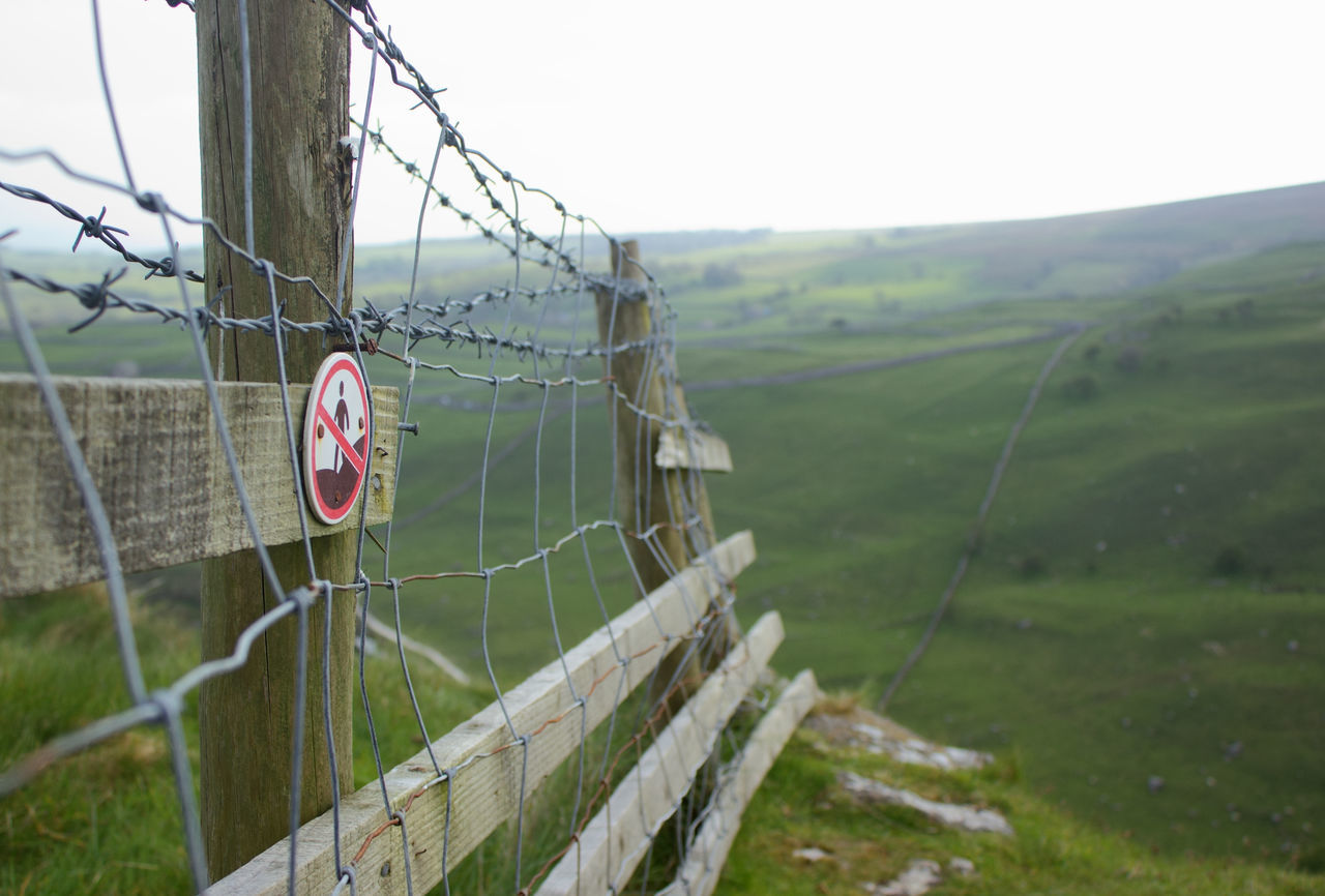 Protection Safety Barbed Wire Day Outdoors Nature No People Sky Yorkshire Dales Uk Tranquility Tranquil Scene English Countryside Malham Cove United KingdomBeauty In Nature Nature Rural Scene Landscape Fence Yorkshire Dales