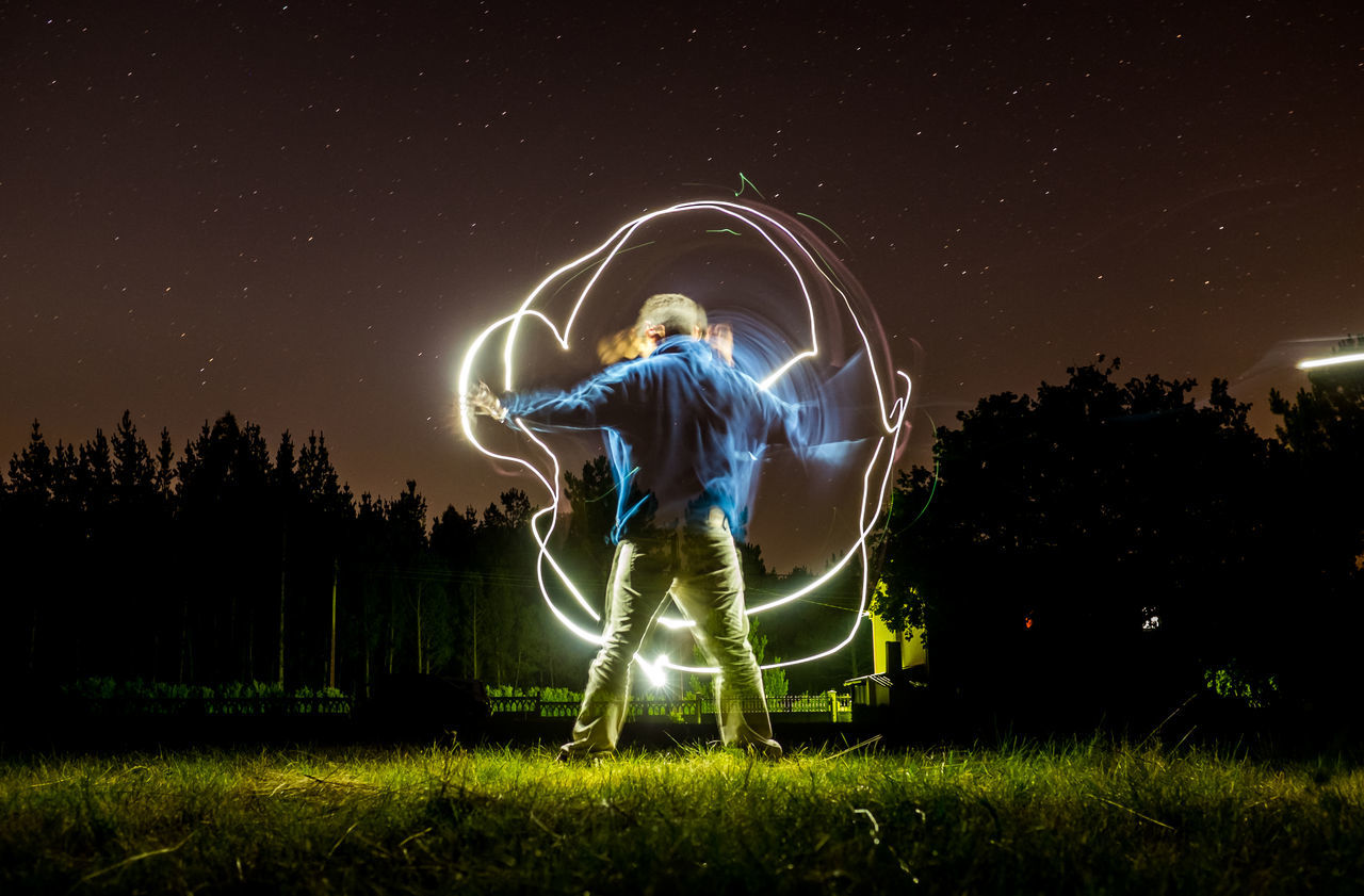 Playing with the light Beauty In Nature Constellation Galaxy Grass Light And Shadow Light Painting Light Painting Photography Light Trail Motion Nature Night Photography Nigth  One Man Only One Person Outdoors Shade And Shadow Sky Space And Astronomy Spinning Star - Space Selfportrait Energy Manga