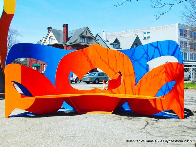 Urban Lifestyle Here's the second sculpture in the grouping at Main and Summer Sts. Citylife Blue Orange Abstract_sculpture Urban Sculpture