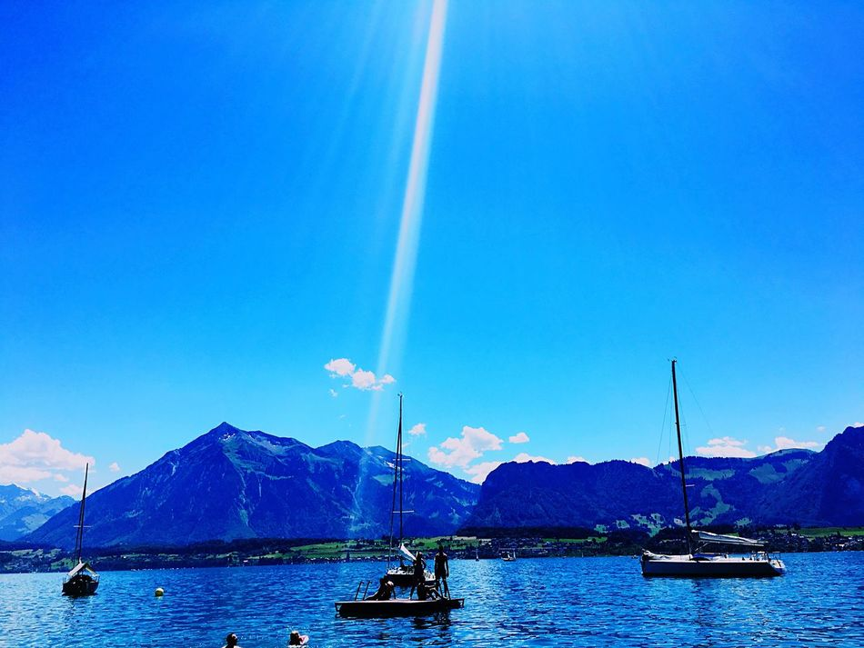 Switzerland Thun Lake Of Thun Gunten Mountains Lake View Taking Photos Relaxing Sailboat Check This Out Enjoying The Sun Sun Enjoying The View Nice Weather Tourist Spot Swimming Stunning View Day Out With Family Colour Of Happiness Colourful Hanging Out Blue Water Blue Water Blue Sky