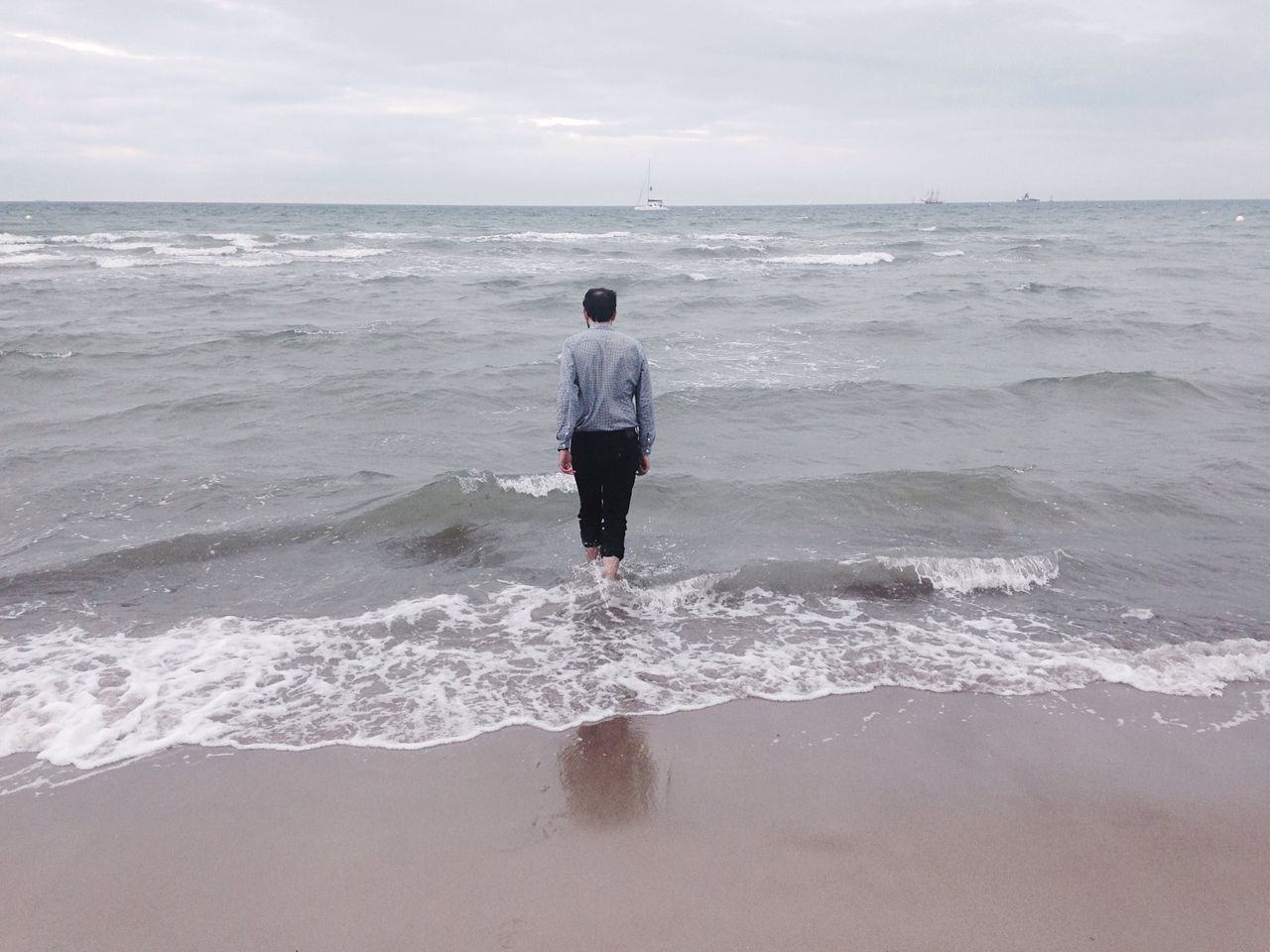 Chilly summer days. Rostock Beach Walk Daring Cold Feet Rusty Seaside Horizon Over Water Escapism Solitude In The Sea Tranquil Scene Mindful Walk Away Ships Sea Water Wave Tranquility Beach Beauty In Nature Remote Scenics