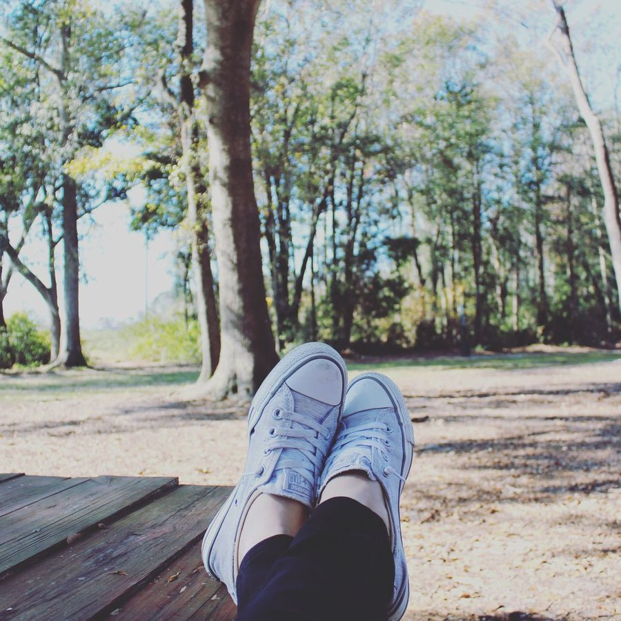 Live simply. Dream big. Be grateful. Give love. Laugh lots ✌🏻️ Tree Low Section Tree Trunk Human Leg One Person Day Shoe Outdoors Nature Real People Human Body Part Canvas Shoe People Christmas Day Converse Relaxing Out Of The Box